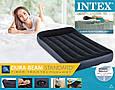 Односпальная, надувная, велюровая кровать Intex 64141 (191*99*25 см), с подголовником, Fiber-Tech, черная, фото 5