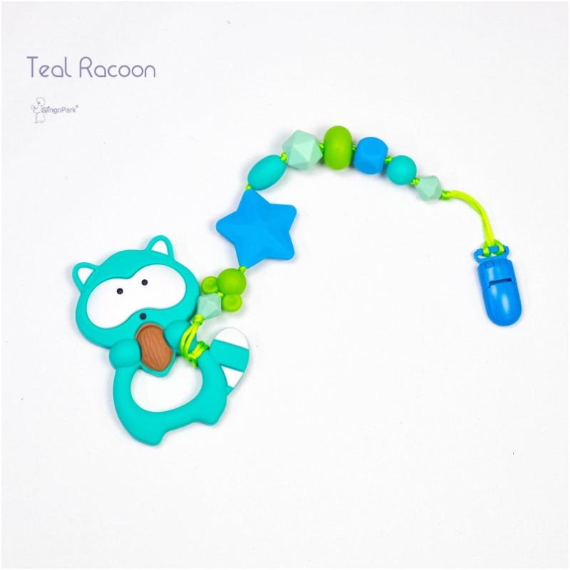 Силиконовый грызунок с держателем BABY MILK TEETH Teal Racoon