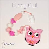 Силиконовый грызунок с держателем BABY MILK TEETH Funny Owl