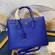 Сумка женская Прада Gallerie 30, 33 см, натуральная кожа, цвет синий