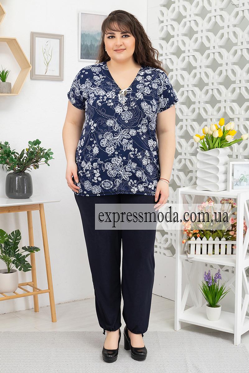 Костюм брюки+туника пуговица Цветы на синем
