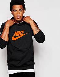Худи Nike | Мужская толстовка | Кенгурушка чёрная, оранжевый принт