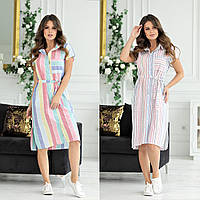 Женское летнее платье рубашка по колено с поясом 44 46 48 50 52 лен на пуговицах полоска синее белая цветная