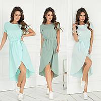 Женское летнее платье на резинке с поясом42 44 46 48софт беж коричневое белое голубое зеленое олива мята горох