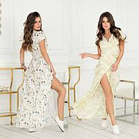 Женское длинное летнее платье на запах с поясом42 44 46 48софт черное темно синее беж пудра желтое белое цветы