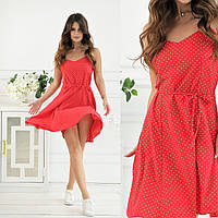 Женское короткое летнее платье на бретельках 42 44 46 48софт беж горошек белое цветы красное мята пудра черное