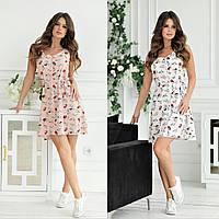 Женское короткое летнее платье майка42 44 46 48софт желтое синее беж пудра белое цветы полоски коричневое мята