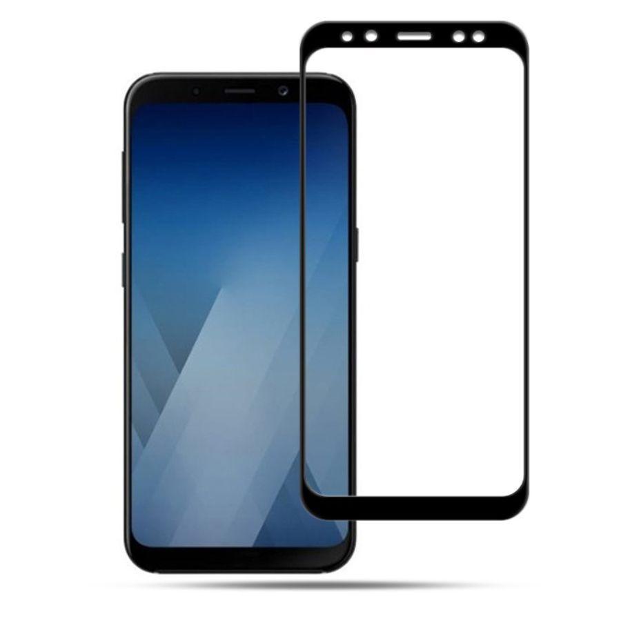 Защитное стекло весь экран Samsung A8 Plus face (black)