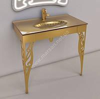 Раковина стеклянная с подстольем Marsan Элис 90 см золото