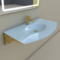 Раковина стеклянная с кронштейном Marsan Madeleine 90 см золото