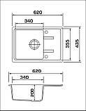 Кухонная гранитная мойка Granado PALMA white 62*44, фото 8