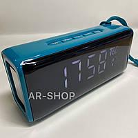 Беcпроводная портативная колонка T&G TG-174 с часами, радио и термометром ( Голубой )