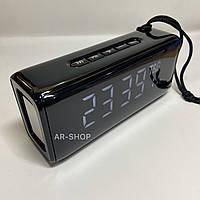Беcпроводная портативная колонка T&G TG-174 с часами, радио и термометром (Черная)