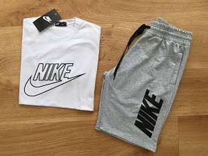 Мужской летний комплект c большим принтом Nike (шорты + футболка)