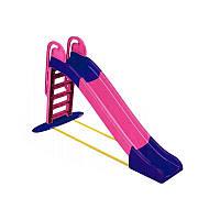 Дитяча ігрова гірка пластикова 243 см зі сходами і підключенням води Рожева (гірка спуск)