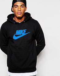 Худи Nike | Мужская толстовка | Кенгурушка чёрная, синий принт