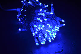 Вулична гірлянда синя нитка 10м з мерехтінням IP65, 1 рік гарантії