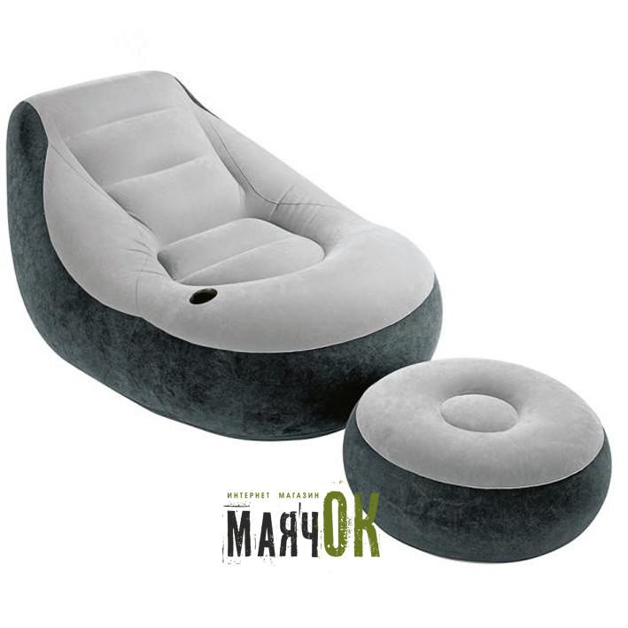 Надувное кресло с пуфиком Intex 68564, 99-130-76см