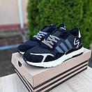 Мужские кроссовки в стиле Adidas  Nite Jogger чёрные на белой, фото 4
