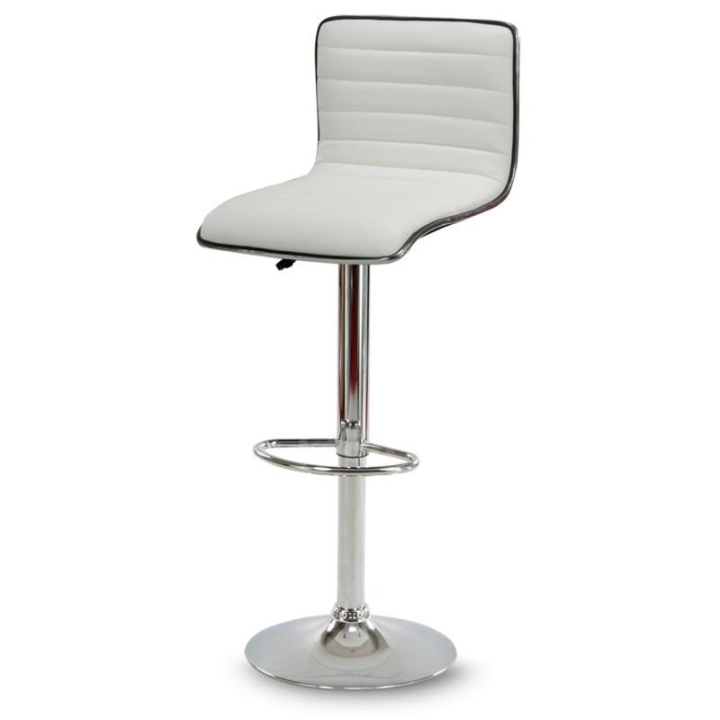 Барный стул Hoker ESTERO с подставкой для ног и регулировкой сидения по высоте Белый
