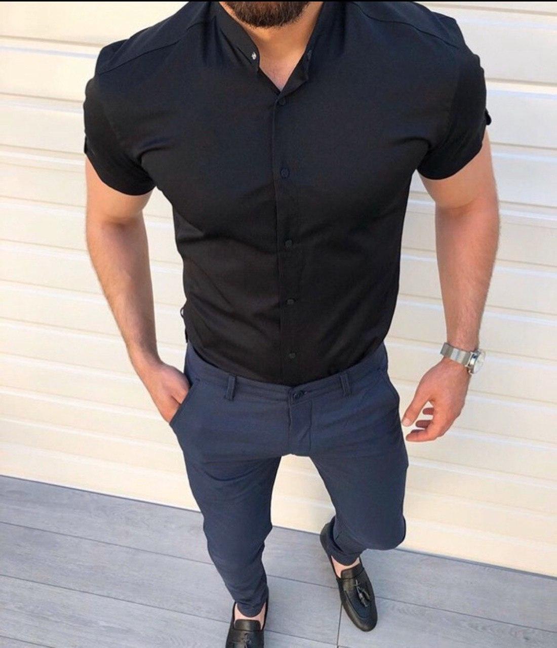 Мужская рубашка с коротким рукавом H0517 черная
