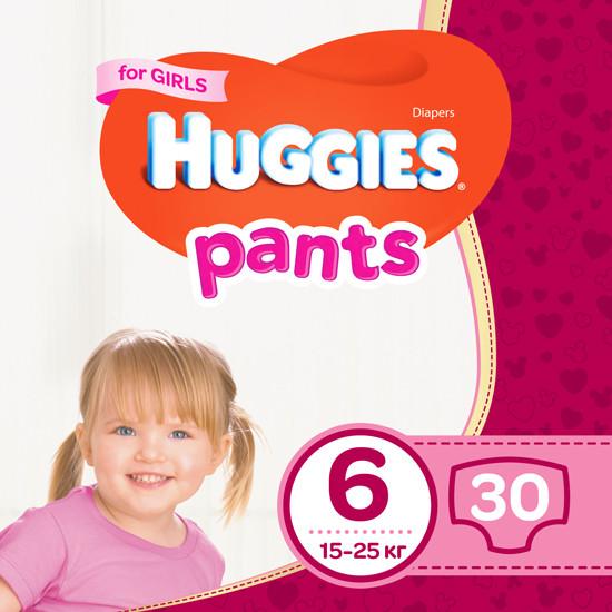 Підгузки-трусики Huggies Pants для дівчаток 6 (15-25кг), 30шт