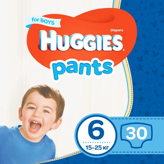 Підгузки-трусики Huggies Pants для хлопчиків 6 (15-25кг), 30шт