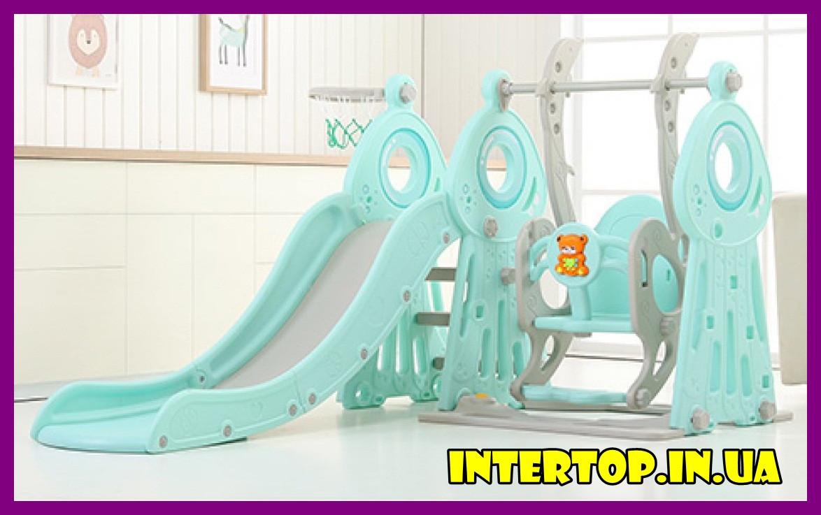 Детский пластиковый игровой комплекс 2 в 1 горка с кольцом + качель Bambi WM19011-5 серо-мятный для дома