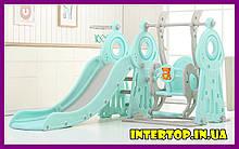 Дитячий пластиковий ігровий комплекс 2 в 1 гірка з кільцем + гойдалка Bambi WM19011-5 сіро-м'ятний для будинку