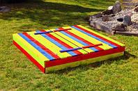 Детская игровая уличная песочница (120*120) стол 2 лавки (песочница для детей), фото 1