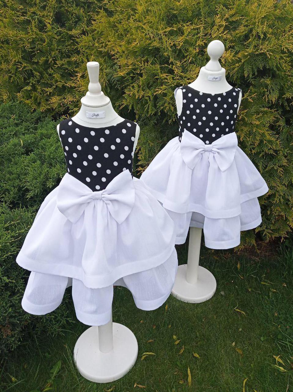 Р 110/116, детское нарядное платье в горошек