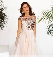 Платье миди женское красивое с вышивкой нарядное Skylar 42, 44, 46