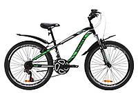 """Велосипед ST 24"""" Discovery FLINT AM Vbr с крылом Pl 2020 (черно-зеленый )"""