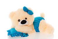 Алина Плюшевая мишка малышка 45 см персиковая с голубым, фото 1