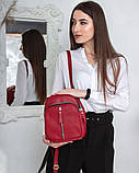 Женская красная сумка-рюкзак М242red маленькая из натуральной кожи трансформер через плечо, фото 7