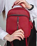 Женская красная сумка-рюкзак М242red маленькая из натуральной кожи трансформер через плечо, фото 2