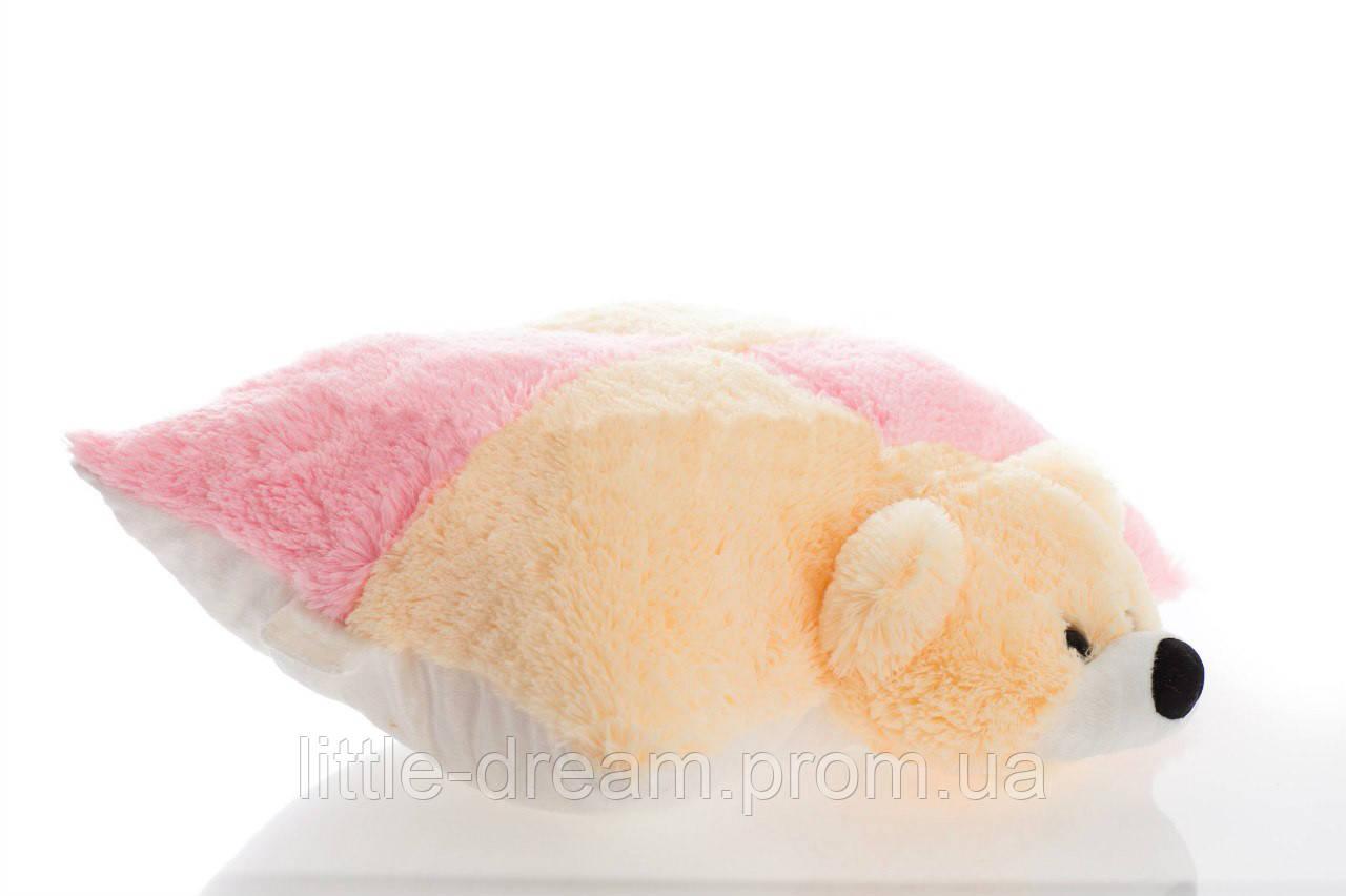Подушка-іграшка Аліна ведмедик 45 см персиковий з рожевим
