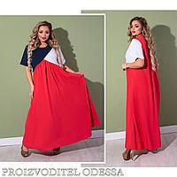 Свободное женское длинное платье,большие размеры 48-50 52-54 56-58