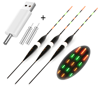 Набор из 3 светящихся LED поплавков для ночной рыбалки +2 Аккумулятора + зарядное
