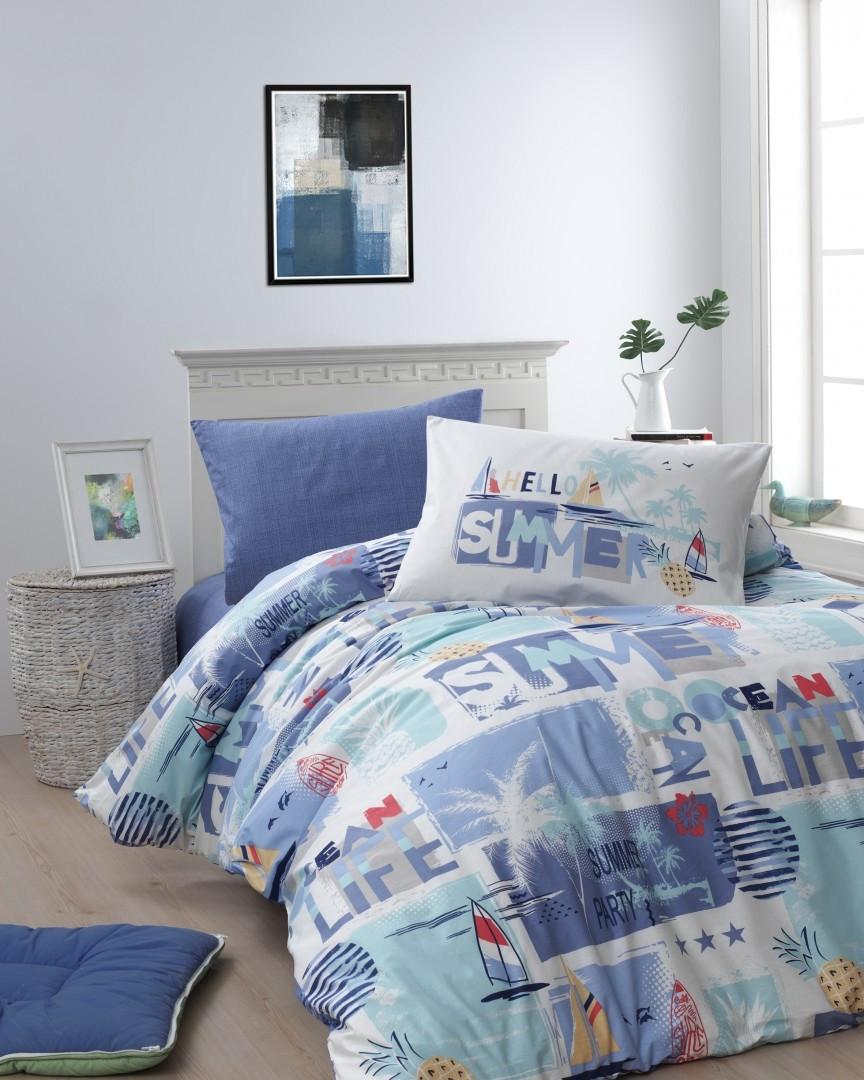 Комплект постельного белья First Choice Ranforce подростковый Summer mavi