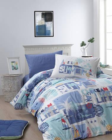 Комплект постельного белья First Choice Ranforce подростковый Summer mavi, фото 2