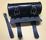Мотосумки - батон. Чорний кожзам. 31 см (довжина) 13 см (діаметр), фото 3