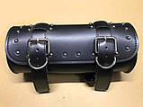 Мотосумки - батон. Чорний кожзам. 31 см (довжина) 13 см (діаметр), фото 2