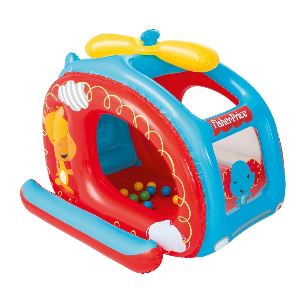 Надувной детский игровой домик манеж Bestway 93502 «Вертолет» с шариками 25 шт