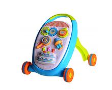 Детская каталка ходунки Baby Walker 3 в 1 + игрушки Синий (от 9 мес)