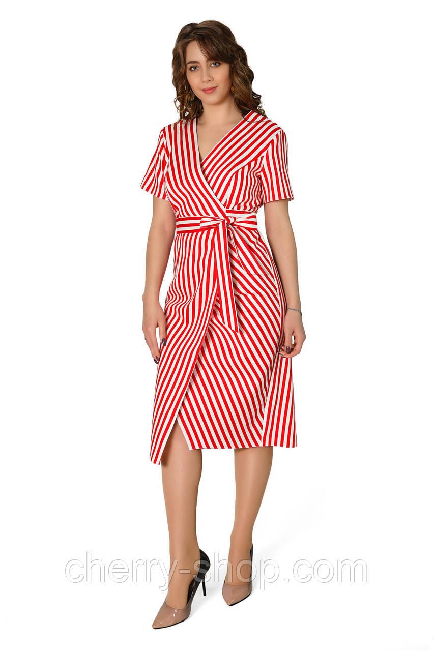 Яркое женское платье с имитацией запаха