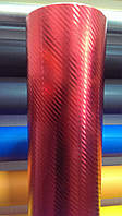 Карбоновая пленка красная глянцевая хром под лаком 1,52 м
