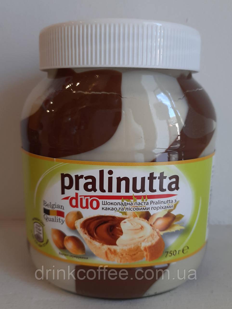 Шоколадная паста Pralinutta duo с какао и с лесными орехами 750г Бельгия