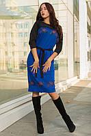 Трикотажное женское платье за колено с цветочным принтом, фото 1