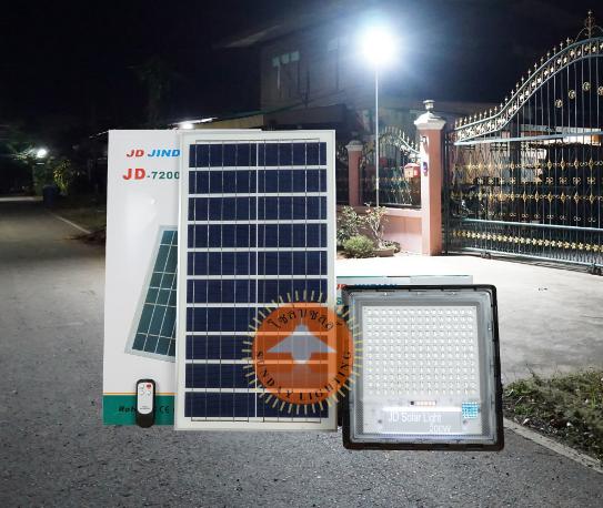 Прожектор JD-7200 200W, IP67, солнечная батарея, пульт ДУ, встроенный аккумулятор, таймер, датчик